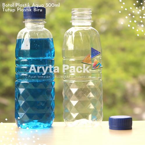 Botol plastik pet 300ml aqua tutup segel biru