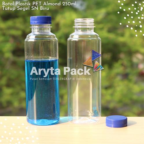 Botol plastik minuman 250ml almond tutup segel biru