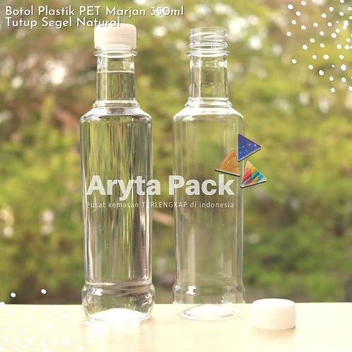 Botol plastik minuman 350ml marjan kecil tutup segel natural