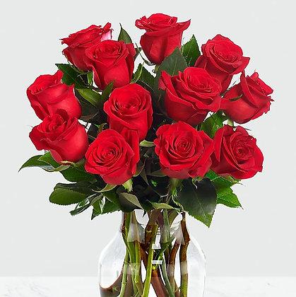 Dozen Roses with Vase