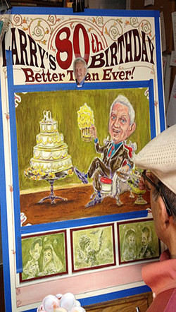 Larry_80th_Birthday_Making_Of_09_Painting_Caricatures_c