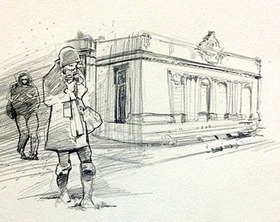 Mohamad_Sketch_Walking_Snow_Building