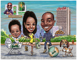 family creative caricatures