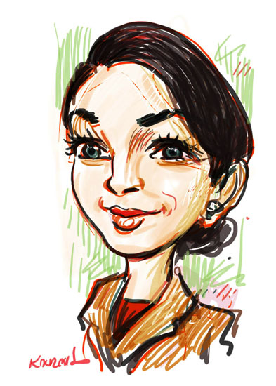 Digital_Caricature_Brunette_Lady
