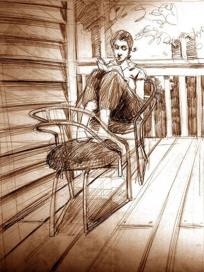 Mohamad_Sketch_Lady_Reading_Porch