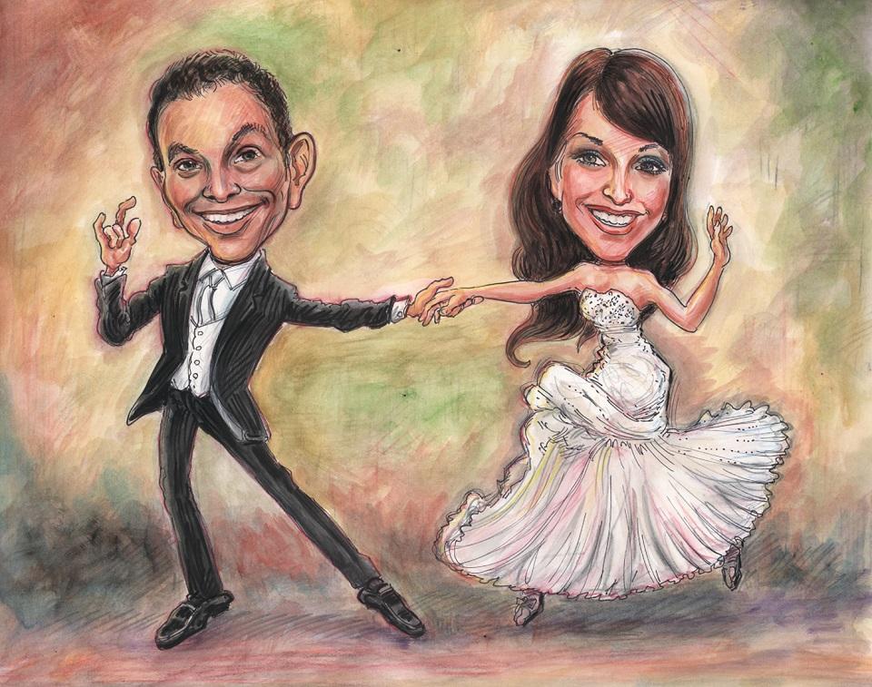 wedding dance creative caricatures