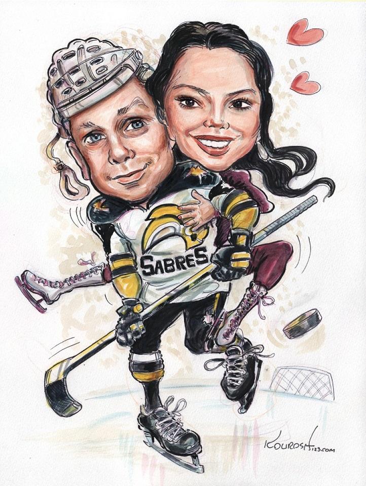 hockey couple creative caricatures
