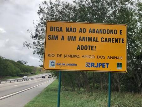 Rodovia recebe placas que alertam contra abandono de pets no RJ