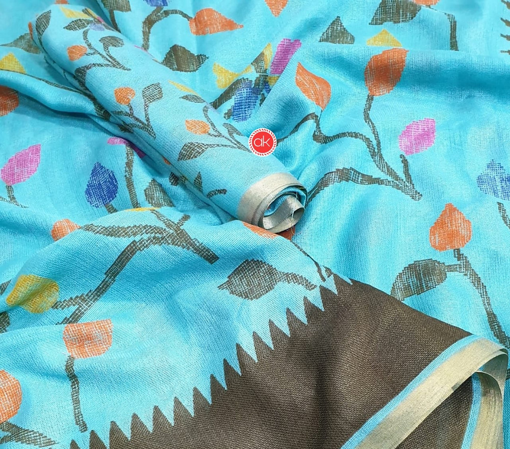 Colourful floral design saree in turquoise blue Linen