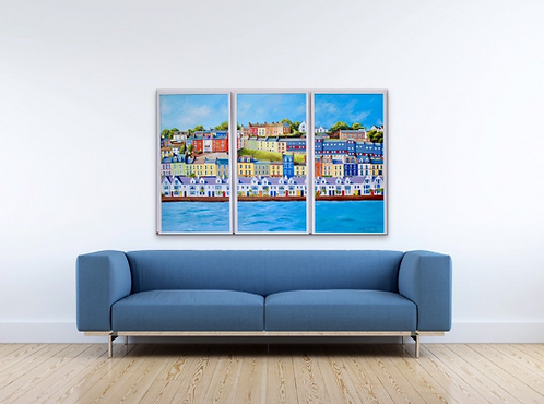 Cobh Waterfront - 3 canvases each measuring 55x105cms