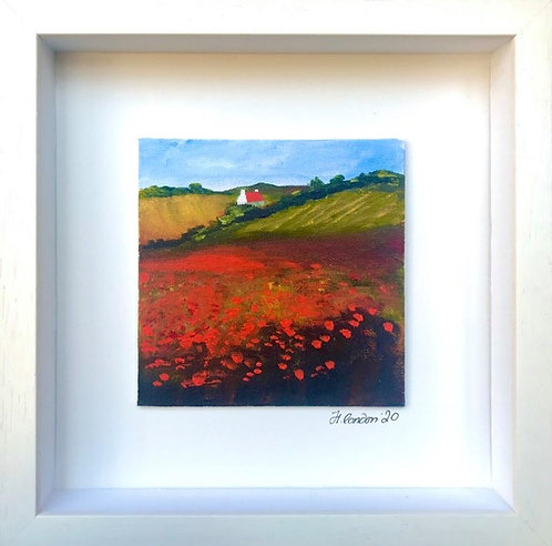 Little Red Roof, 28.5 x 28.5cms Framed