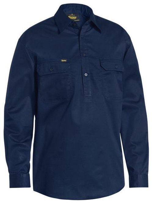 Bisley Closed Front Long Sleeve Cotton Light Weight Drill Shirt