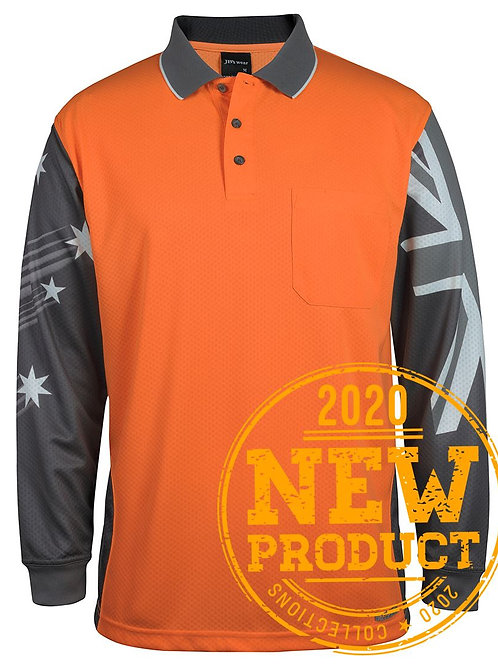JBs Long Sleeve Southern Cross Hi Vis Polo