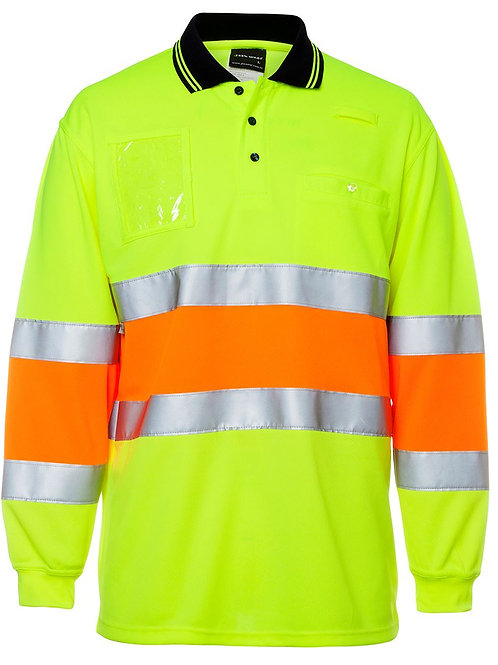 JBs Hi Vis Biomotion (D+N) Long Sleeve Polo with reflective tape