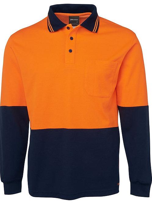 JBs Hi Vis L/S Cotton Back Polo