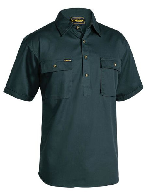 Bisley Closed Front Cotton Drill Short Sleeve Shirt