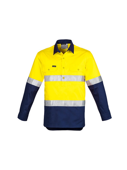 Syzmik Mens Hi Vis Closed Front Long Sleeve Shirt - Hoop Taped