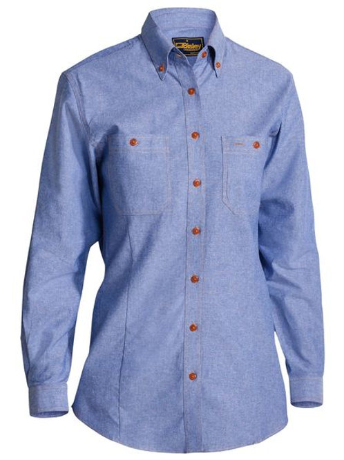Bisley Ladies Chambray Long Sleeve Shirt