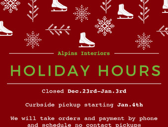 Holiday Hours and Curbside Pickup!