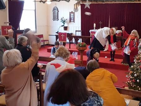 Snowball fighting, in church