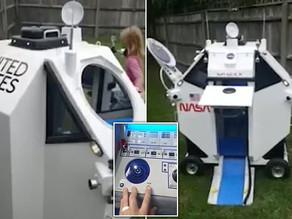 Grandfather builds a replica Space X Dragon module for aspiring astronaut grandson