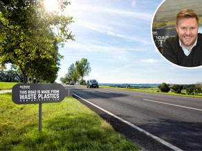 Company recycles and converts waste plastic water bottles destined for landfills into roads