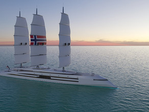 Viking-themed, zero-emission, superyacht concept features giant solar cell sails