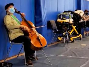 Yo-Yo Ma, world-famous cellist, performs as people wait for coronavirus vaccine