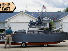 Drivable navy destroyer built on golf cart to honor veterans, raise money for charity