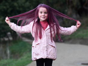 Six-year-old and future doctor Rubi Rosenow goes pink to raise money for breast cancer
