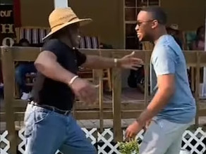 Heartwarming! Father, aged 70, leaps over porch fence to hug his son who he hasn't seen for 2 years