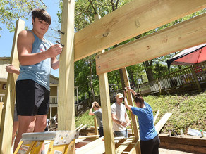Kids living at a local shelter have a new playground thanks to the efforts of charitable students