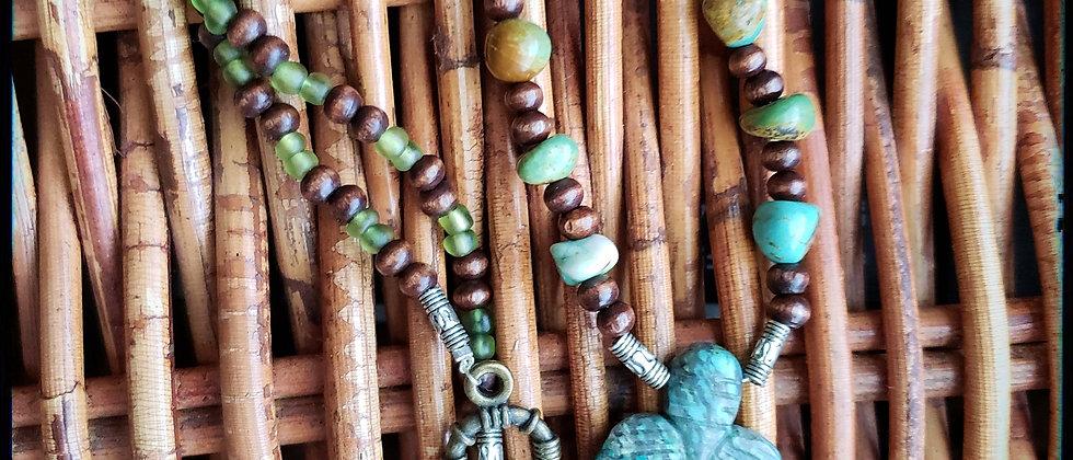 Kiwi Jasper, Turquoise and Wood Beaded Necklace