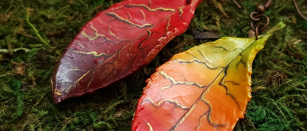 Autumn Rainbow Polymer clay Leaf Earrings