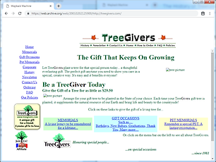 Early website at the TreeGivers.com doman