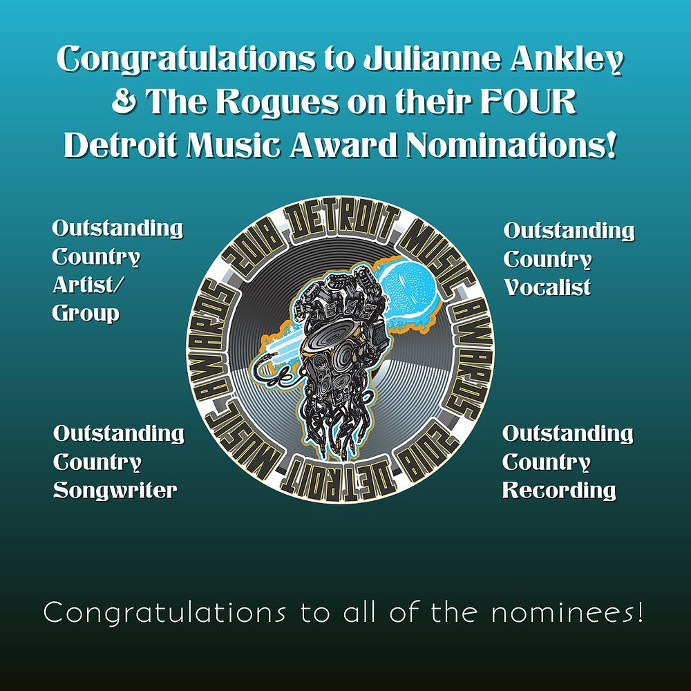 Thank you to my peers, for nominating me for four Detroit Music Awards. Congratulations to my band mates as well for our nomination for Outstanding Country Artist/Group. It truly is an honor to be nominated. Thank you, my Detroit musical friends! xo!!  Also, congratulations to all the other nominees!