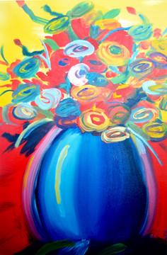 "Study: Peter Max, ""Vase of Flowers Series"""