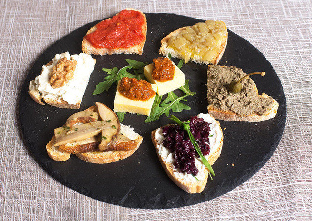 Toast with mixed toppings appetizer plate
