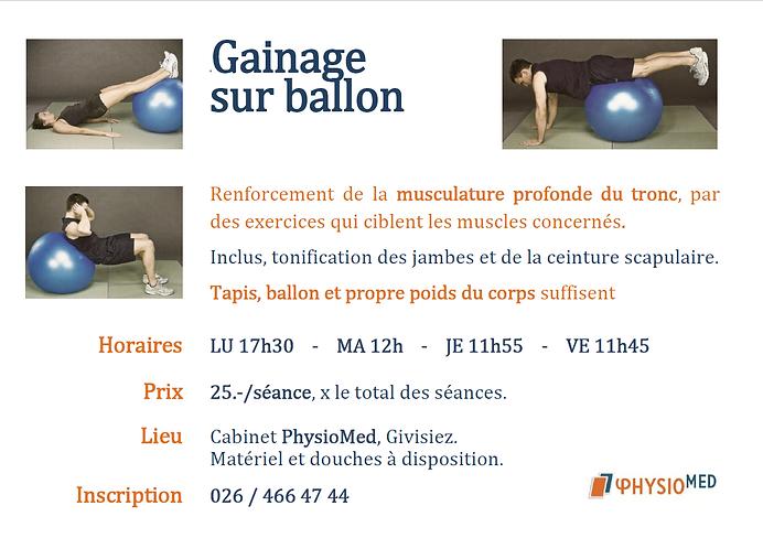 Cours Gainage sur ballon