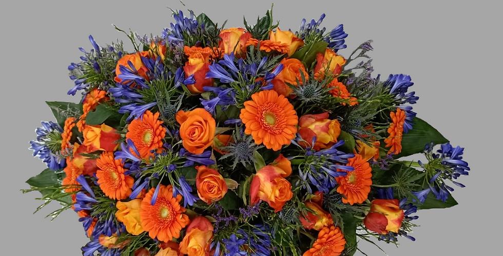 Rouwstuk oranje/paars