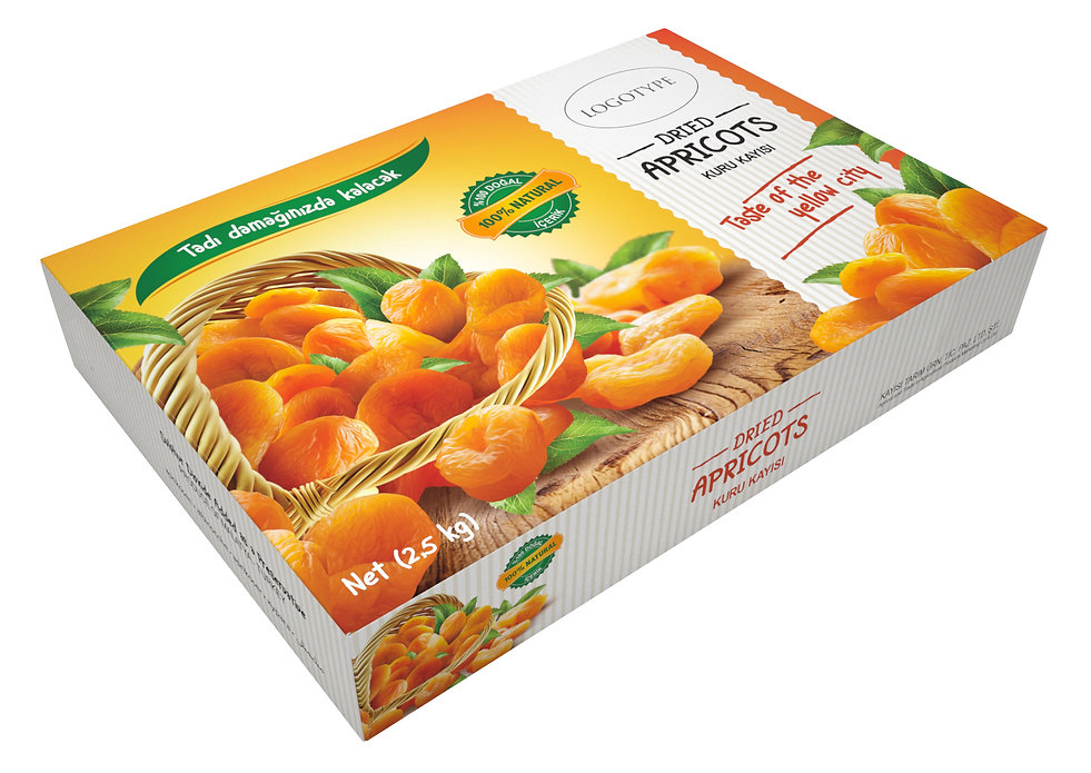 dried apricots box packaging design