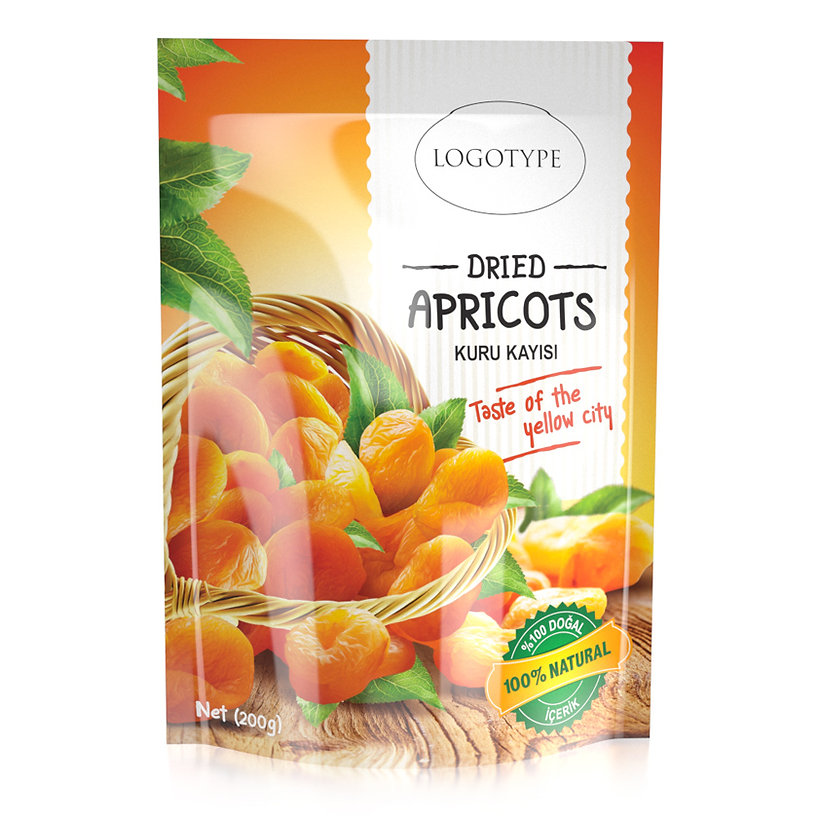 dried apricots packaging design