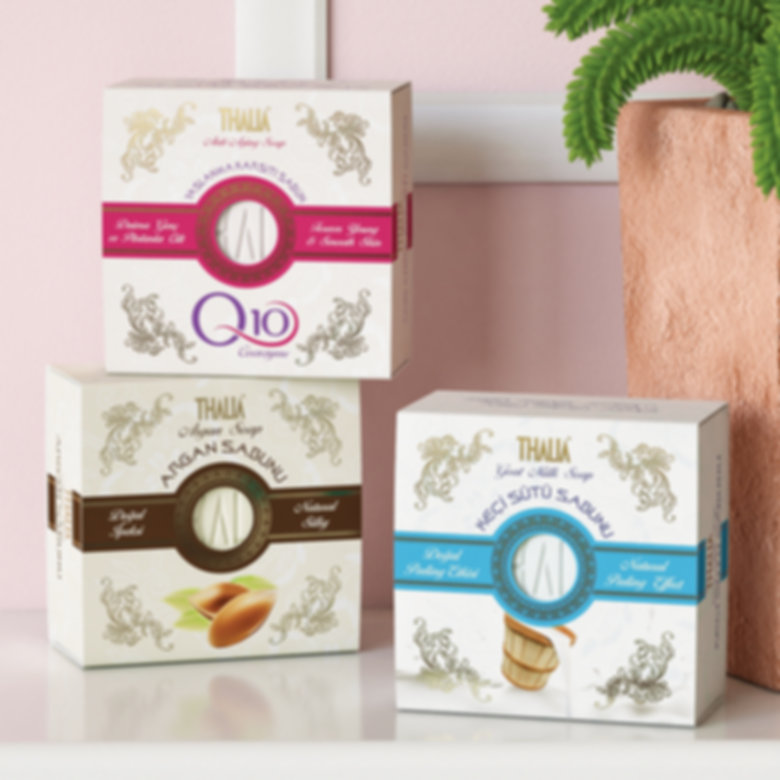 thalia q10 argan goat milk soap packaging design