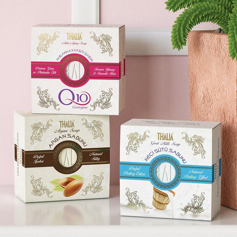 thalia q10 argan keci sütü sabun ambalaj tasarımı