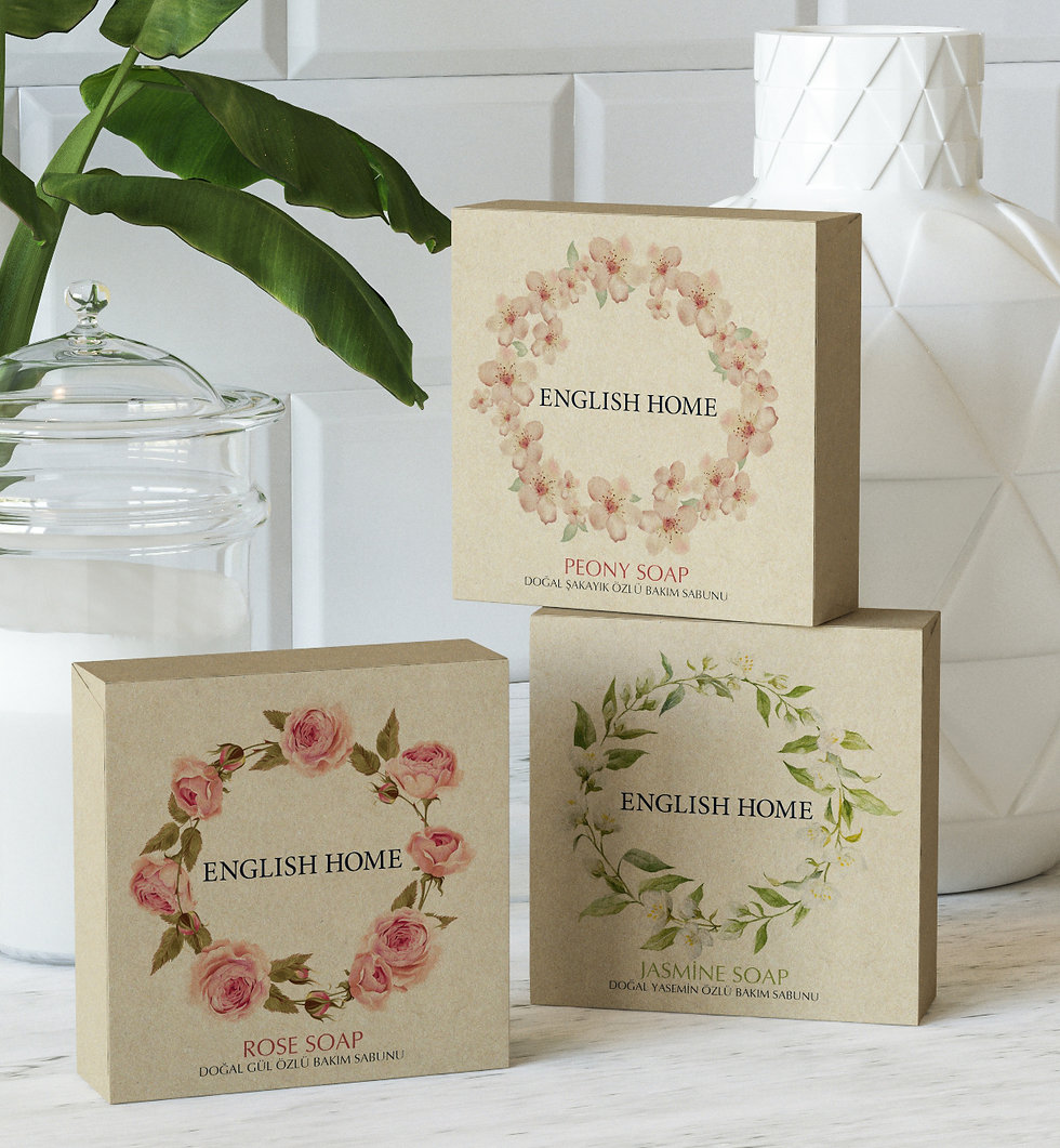 english home soap packaging design