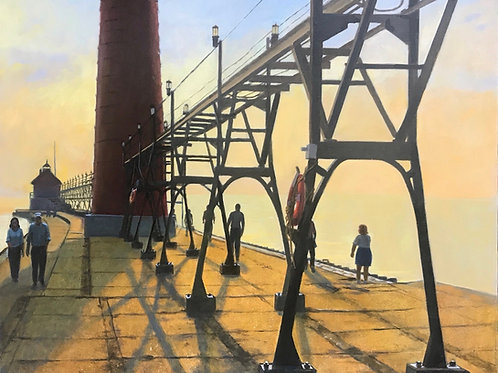 """""""Twilight on the Pier"""" - oil"""