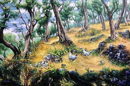 """A Stroll In The Groves"" - oil"