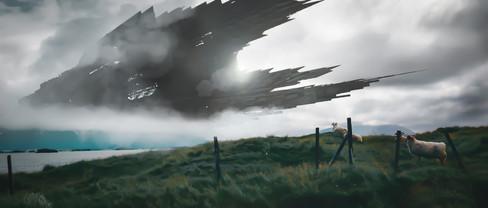 Composite conceptual digital artwork for sci-fi film pitch