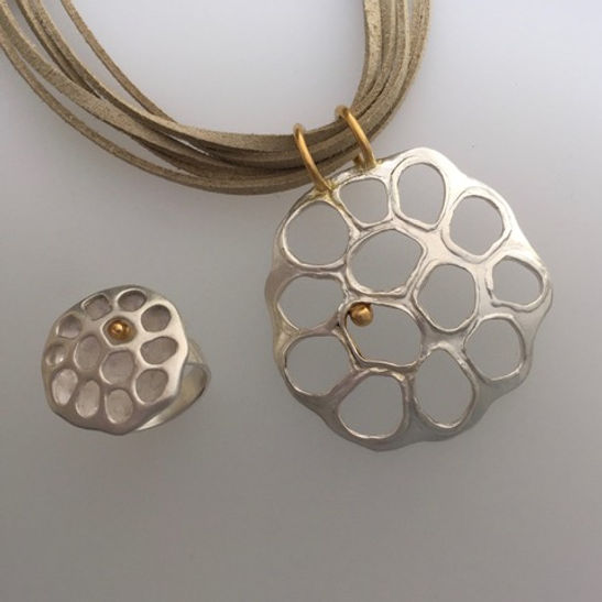 Wendy Penrose Lotus Pod pendant and ring