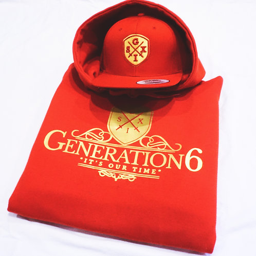 Gold/Red G6 Hoodie + Snapback Combo